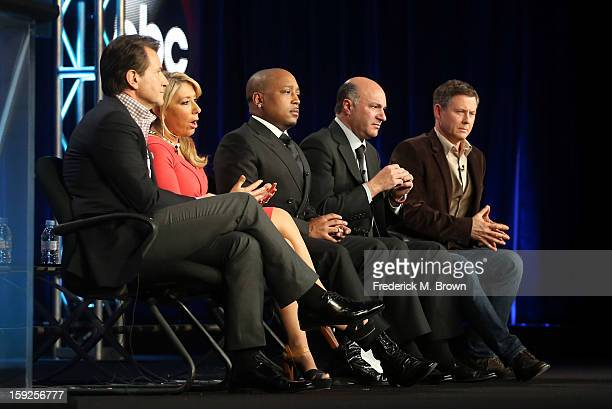 Hosts Robert Herjavec Lori Greiner Daymond John Kevin O'Leary and Executive Producer Clay Newbill of Shark Tank speak onstage during the ABC portion...