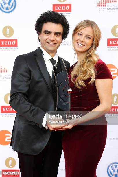 Hosts Rolando Villazon and Nina Eichinger arrive at the Echo Klassik 2012 award ceremony at Konzerthaus Berlin on October 14 2012 in Berlin Germany