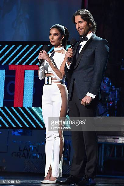 Hosts Roselyn Sanchez and Sebastian Rulli speak onstage during The 17th Annual Latin Grammy Awards at TMobile Arena on November 17 2016 in Las Vegas...