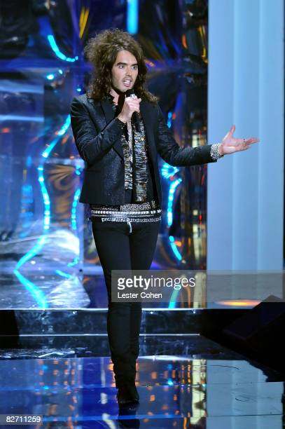 Hosts Russell Brand on stage at the 2008 MTV Video Music Awards at Paramount Pictures Studios on September 7 2008 in Los Angeles California