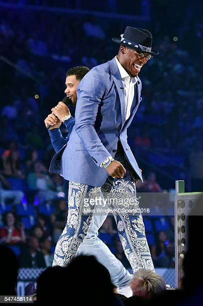 Hosts Russell Wilson and Cam Newton are seen onstage during the Nickelodeon Kids' Choice Sports Awards 2016 at UCLA's Pauley Pavilion on July 14 2016...