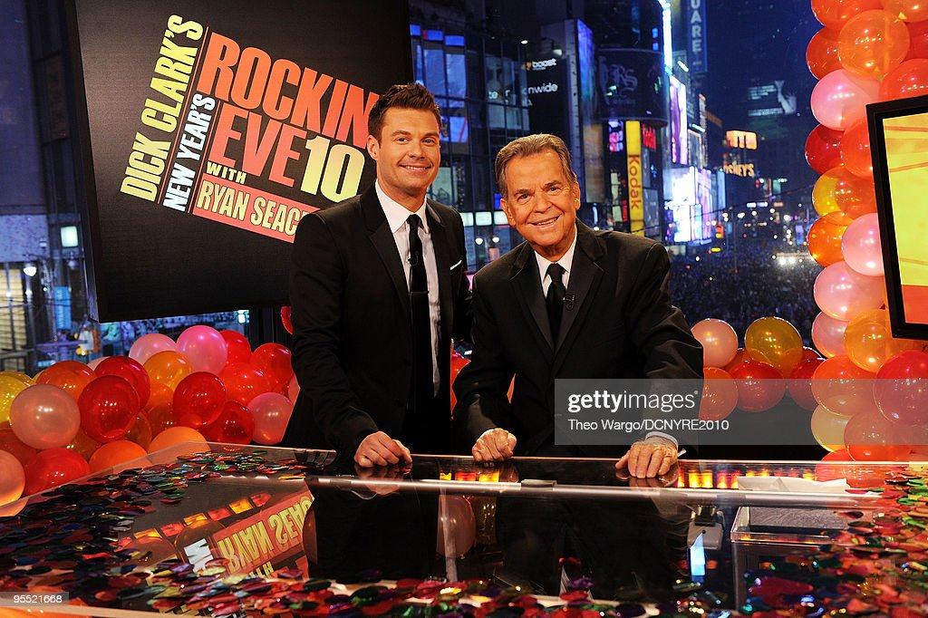 Hosts Ryan Seacrest (L) and Dick Clark celebrate the new year during Dick Clark's New Year's Rockin' Eve With Ryan Seacrest 2010 in Times Square on December 31, 2009 in New York City.