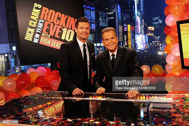 Hosts Ryan Seacrest and Dick Clark celebrate the new year during Dick Clark's New Year's Rockin' Eve With Ryan Seacrest 2010 in Times Square on...