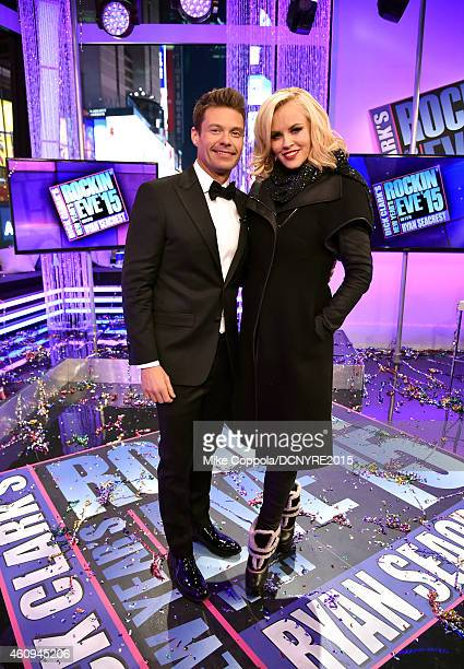 Hosts Ryan Seacrest and Jenny McCarthy attend Dick Clark's New Year's Rockin' Eve with Ryan Seacrest 2015 on December 31 2014 in New York City