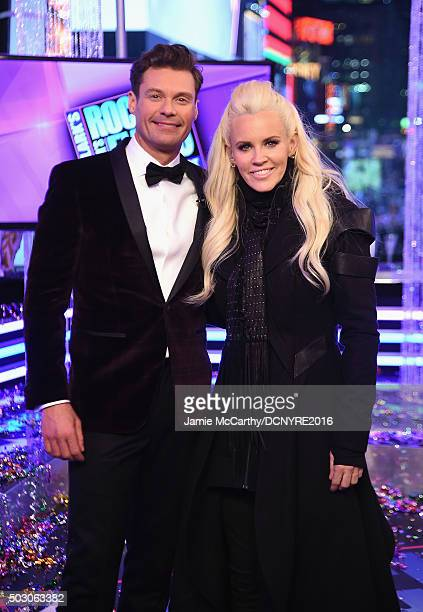 Hosts Ryan Seacrest and Jenny McCarthy attend the Dick Clark's New Year's Rockin' Eve with Ryan Seacrest 2016 on December 31 2015 in New York City