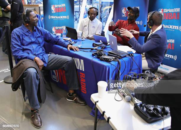 Hosts Sam Mitchell Greg Anthony Eddie Johnson and Justin Termine take part in SiriusXM's NBA Radio Playoff Preview live from the NBA Store on April...
