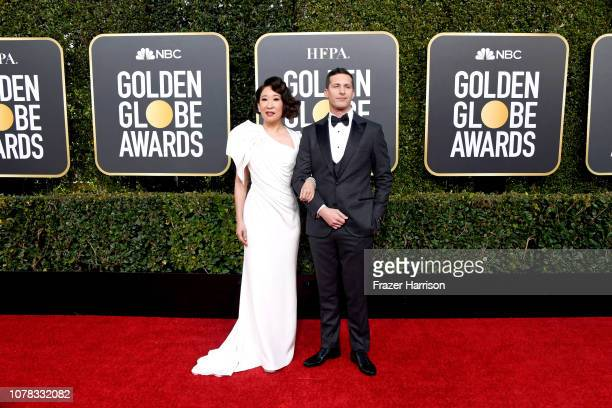 Hosts Sandra Oh and Andy Samberg attend the 76th Annual Golden Globe Awards at The Beverly Hilton Hotel on January 6 2019 in Beverly Hills California