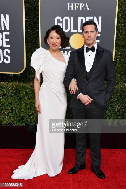 Hosts Sandra Oh and Andy Samberg attend the 76th Annual Golden Globe Awards held at The Beverly Hilton Hotel on January 06 2019 in Beverly Hills...
