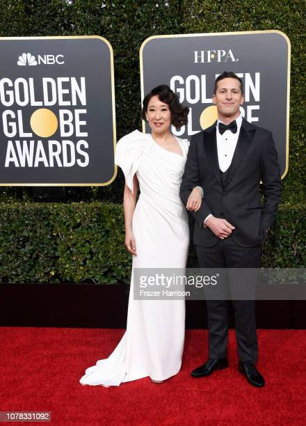 Hosts Sandra Oh and Andy Samberg attends the 76th Annual Golden Globe Awards at The Beverly Hilton Hotel on January 6 2019 in Beverly Hills California
