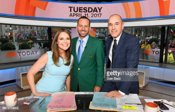 TV hosts Savannah Guthrie Masters Champion Sergio Garcia and Matt Lauer pose for a photo on the set of the Today Show during the Master's winner...