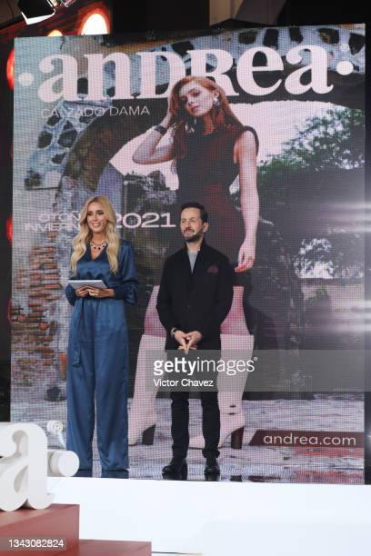 Hosts Shanik Aspe and Oscar Madrazo speak on stage during the presentation of the Fall/Winter collection by Andrea at TV Azteca Ajusco on September...