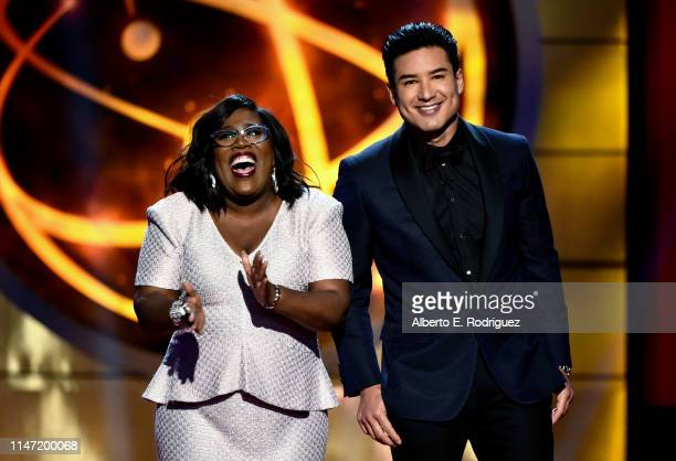 Hosts Sheryl Underwood and Mario Lopez speak onstage at the 46th annual Daytime Emmy Awards at Pasadena Civic Center on May 05 2019 in Pasadena...