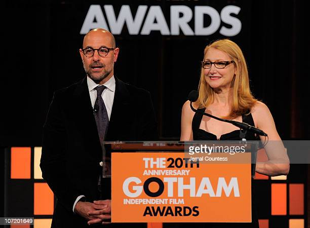Hosts Stanley Tucci and Patricia Clarkson speak onstage at IFP's 20th Annual Gotham Independent Film Awards at Cipriani Wall Street on November 29...