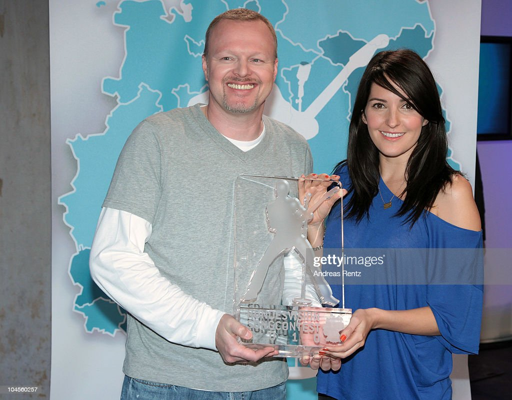 TV hosts Stefan Raab and Johanna Klum attend a press conference to promote the 'Bundesvision Song Contest 2010' at the Max-Schmeling Hall on September 30, 2010 in Berlin, Germany.