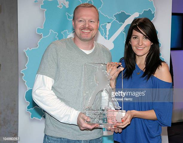 Hosts Stefan Raab and Johanna Klum attend a press conference to promote the 'Bundesvision Song Contest 2010' at the Max-Schmeling Hall on September...