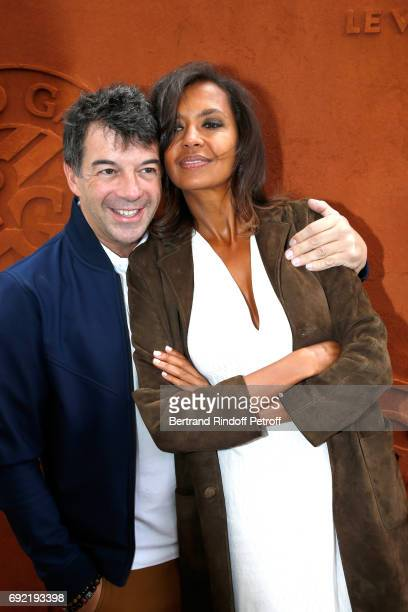 TV Hosts Stephane Plaza and Karine Le Marchand attend the 2017 French Tennis Open Day Height at Roland Garros on June 4 2017 in Paris France