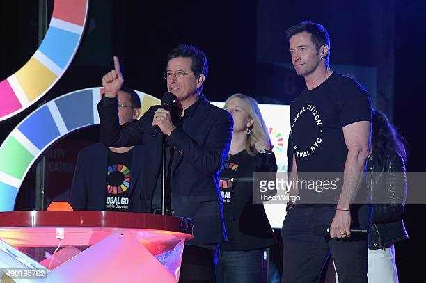 Hosts Stephen Colbert and Hugh Jackman speak on stage at the 2015 Global Citizen Festival to end extreme poverty by 2030 in Central Park on September...