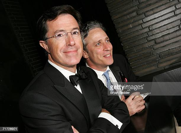 Hosts Stephen Colbert and Jon Stewart winner of the Outstanding Directing for a Variety Music or Comedy Program for The Daily Show attend the Comedy...