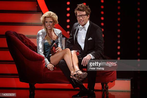 Hosts Sylvie van der Vaart and Daniel Hartwich during 'Let's Dance' Third Show at Coloneum on March 28 2012 in Cologne Germany