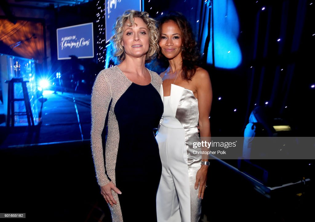 Hosts Teri Polo (L) and Sherri Saum pose backstage during A Legacy Of Changing Lives presented by the Fulfillment Fund at The Ray Dolby Ballroom at Hollywood & Highland Center on March 13, 2018 in Hollywood, California.