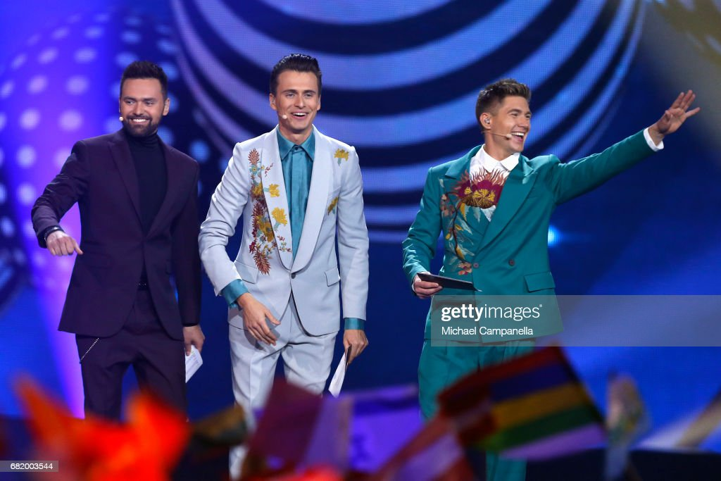 Hosts Timur Miroshnychenko, Oleksandr Skichko and Volodymur Ostapchuk speak on stage during the second semi final of the 62nd Eurovision Song Contest at International Exhibition Centre (IEC) on May 11, 2017 in Kiev, Ukraine. The final of this years Eurovision Song Contest will be aired on May 13, 2017.