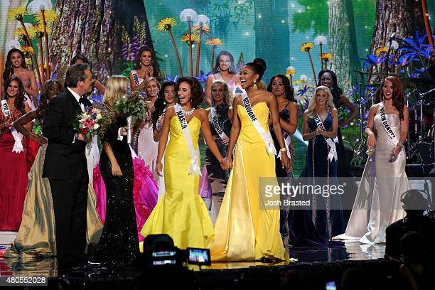 Hosts Todd Newton and Former Miss Wisconsin Alex Wehrley speak on stage with Miss Congeniality winners Miss Alaska Kimberly Dawn Agron and Miss...