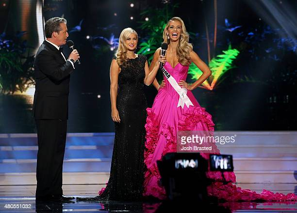 Hosts Todd Newton and Former Miss Wisconsin Alex Wehrley speak onstage with Miss Oklahoma Olivia Jordan at the 2015 Miss USA Pageant Only On...