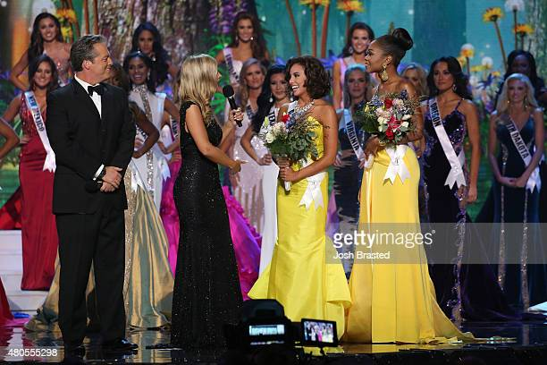 Hosts Todd Newton and Former Miss Wisconsin Alex Wehrley speak onstage with Miss Congeniality winners Miss Alaska Kimberly Dawn Agron and Miss...