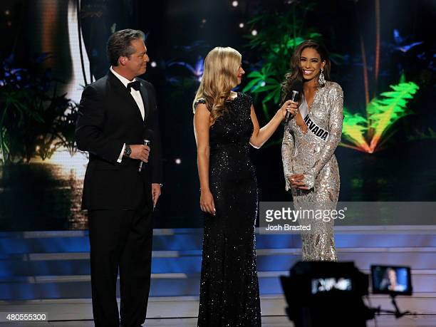 Hosts Todd Newton and Former Miss Wisconsin Alex Wehrley speak onstage with Miss Nevada Brittany McGowan at the 2015 Miss USA Pageant Only On...