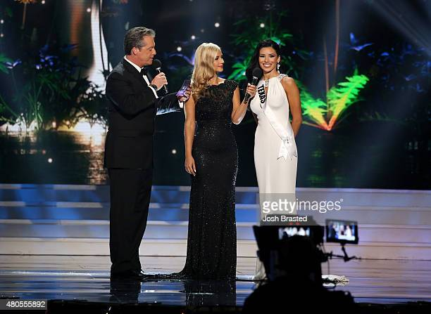 Hosts Todd Newton and Former Miss Wisconsin Alex Wehrley speak onstage with Miss Texas Ylianna Guerra at the 2015 Miss USA Pageant Only On...
