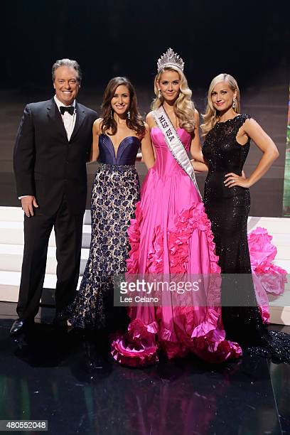 Hosts Todd Newton Julie Alexandria Miss USA Olivia Jordan of Oklahoma and Host former Miss Wisconsin Alex Wehrley pose on stage with at the 2015 Miss...