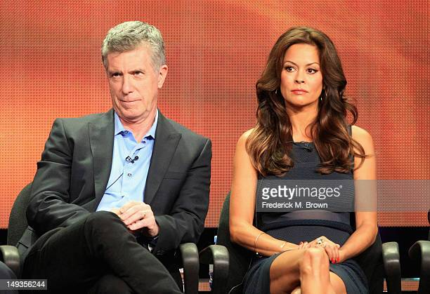 """Hosts Tom Bergeron and Brooke Burke-Charvet speak onstage at the """"Dancing with the Stars: All-Stars"""" panel during the Disney/ABC Television Group..."""