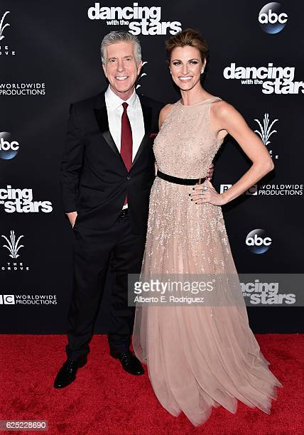 """Hosts Tom Bergeron and Erin Adrews attend ABC's """"Dancing With The Stars"""" Season 23 Finale at The Grove on November 22, 2016 in Los Angeles,..."""