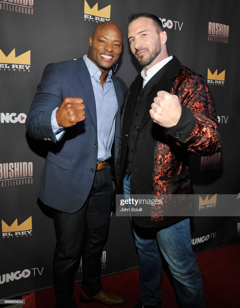 Hosts Tony Parrish and Nate Quarry attend Bushido Battleground Fight Night at Exchange LA on October 26, 2017 in Los Angeles, California.