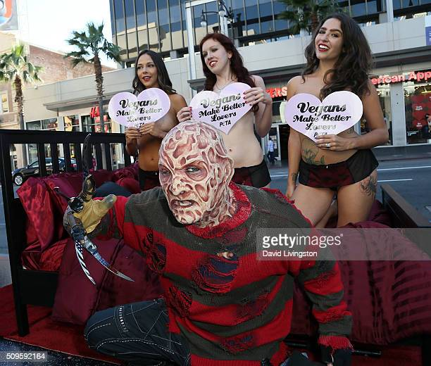 PETA hosts 'Vegans Make Better Lovers' Valentine's Day demonstration in Hollywood at TCL Chinese Theatre IMAX on February 11 2016 in Hollywood...