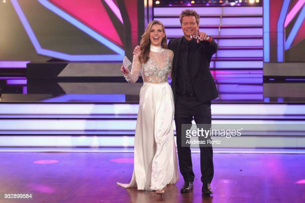 Hosts Victoria Swarovski and Oliver Geissen on stage during the 1st show of the 11th season of the television competition 'Let's Dance' on March 16,...
