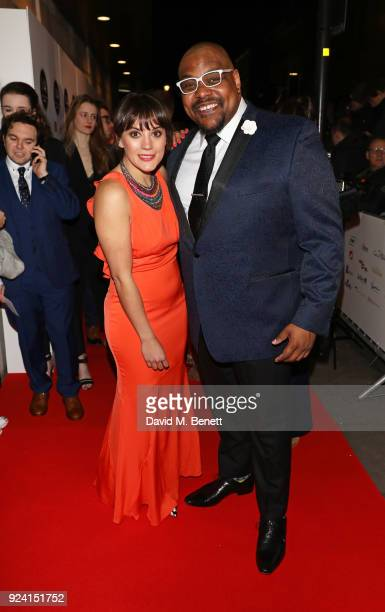 Hosts Vikki Stone and Trevor Dion Nicholas attend the 18th Annual WhatsOnStage Awards at the Prince Of Wales Theatre on February 25 2018 in London...