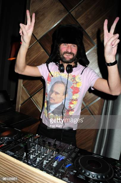 TV host/writer Frederic Beigbeder performs at the Russian New Year Party Special DJ Tzar Frederic Beigbeder the Arc Club on January 12 2010 in Paris...