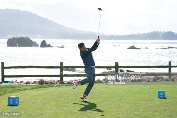 Hosung Choi of South Korea plays a shot during a practice round prior to the ATT Pebble Beach ProAm at Pebble Beach Golf Links on February 05 2019 in...