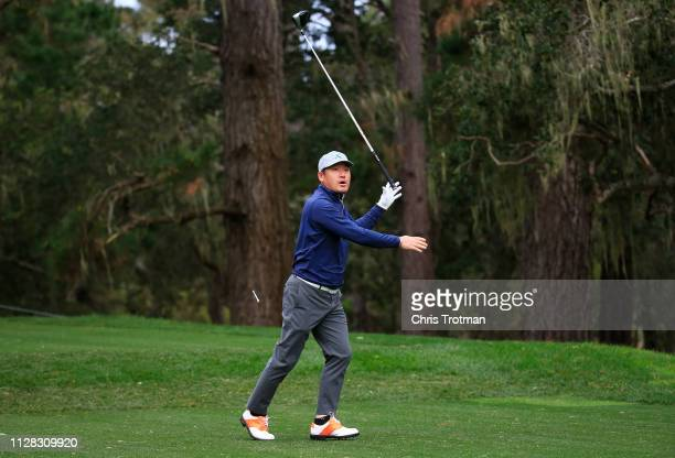 Ho-sung Choi of South Korea plays his shot from the 13th tee during the second round of the AT&T Pebble Beach Pro-Am at Spyglass Hill Golf Course on...