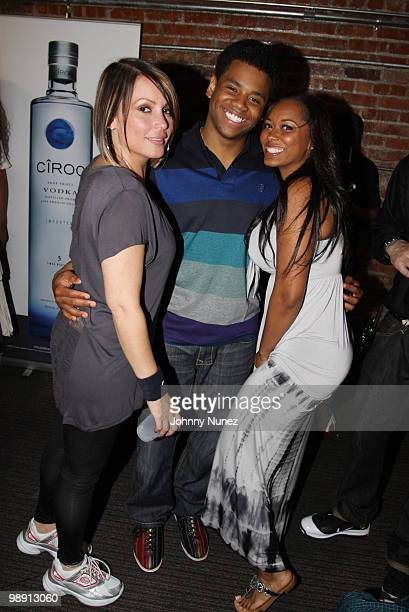 Hot 97 radio personality Angie Martinez actor Tristan Wilds and model Esther Baxter attend Celebrity Strikeout at Harlem Lanes on May 6 2010 in New...