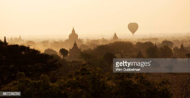 A hot air balloon above Bagan, Myanmar.