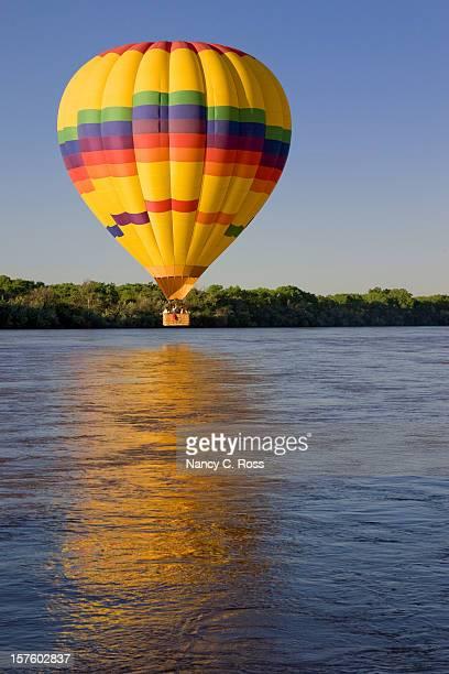 Hot Air Balloon Above Rio Grande River, Sunrise, Albuquerque, Reflection