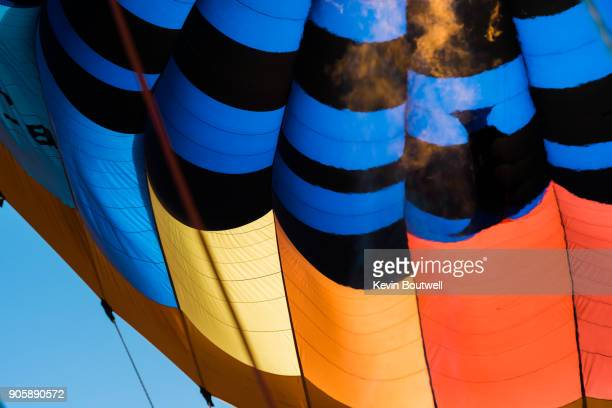 Hot air balloon adding heat to the balloon to rise higher