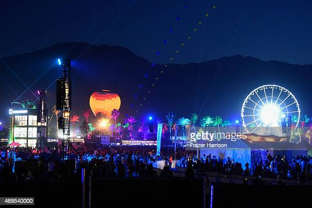 Hot air balloon and ferris wheel are seen during day 3 of the 2015 Coachella Valley Music & Arts Festival at the Empire Polo Club on April 12, 2015...