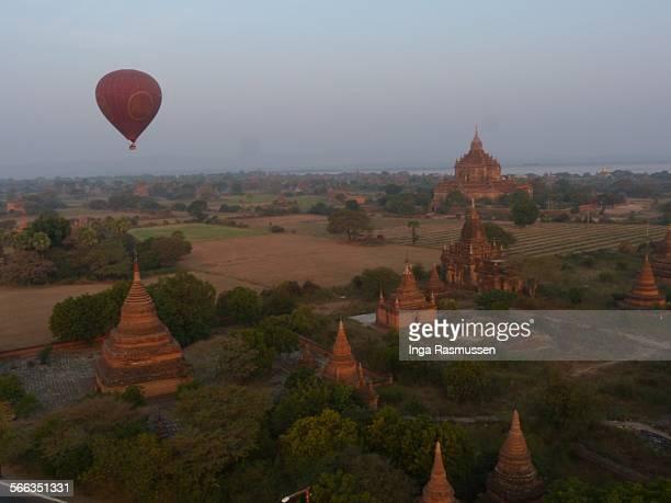 Hot air balloon at sunrise in Bagan Myanmar