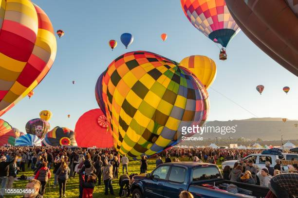 hot air balloon festival in albuquerque - balloon fiesta stock pictures, royalty-free photos & images