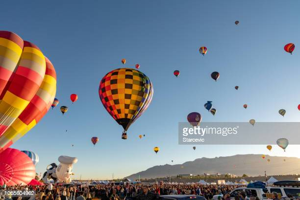hot air balloon festival in albuquerque - launch event stock pictures, royalty-free photos & images