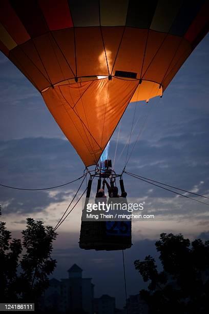 Hot air balloon flame at dusk