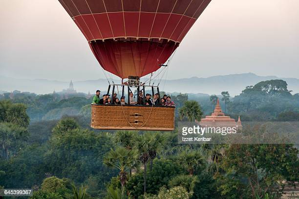 Hot Air Balloon Floating Above the Temple of Bagan
